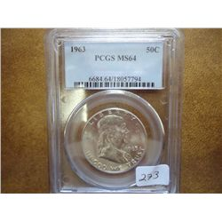 1963 FRANKLIN HALF DOLLAR PCGS MS64