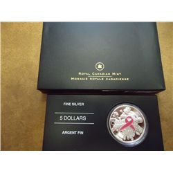 2006 CANADA SILVER $5 PINK RIBBON PROOF