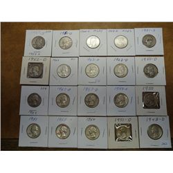 20 ASSORTED WASHINGTON SILVER QUARTERS