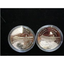 2-2005 UKRAINE 5 HRYVEN AIRCRAFT COINS PROOF