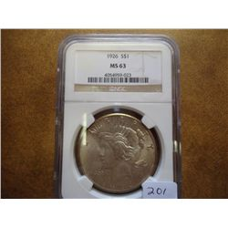 1926 PEACE SILVER DOLLAR NGC MS63