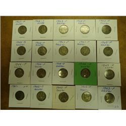20 ASSORTED 35% SILVER JEFFERSON WAR NICKELS