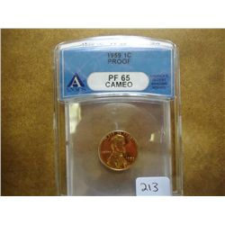 1959 LINCOLN CENT ANACS PF65 CAMEO
