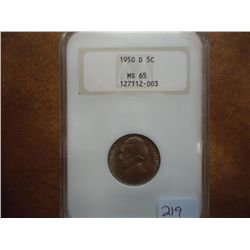 1950-D JEFFERSON NICKEL ANACS MS65 KEY DATE