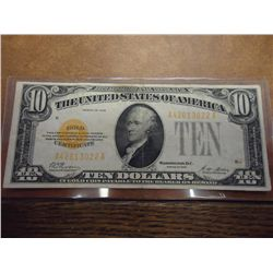 1928 $10 US GOLD CERTIFICATE