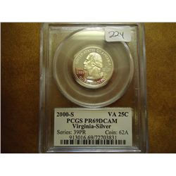 2000-S SILVER VIRGINIA QUARTER PCGS PR69 DCAM
