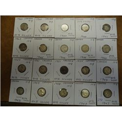 20 ASSORTED CANADA SILVER 10 CENTS