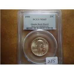 1950 WASHINGTON SILVER QUARTER PCGS MS65
