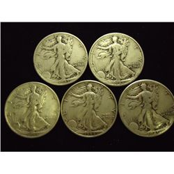 5 ASSORTED 1940'S WALKING LIBERTY HALF DOLLARS