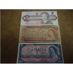 1954,74 & 86 CANADA TWO DOLLAR BILLS