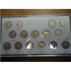MERCURY DIME SHORT SET (AS SHOWN) 15 COINS