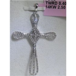 All Diamonds 14K White Gold Cross Pendant