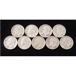 9 Mixed Date Silver Roosevelt Dimes 1946-1950