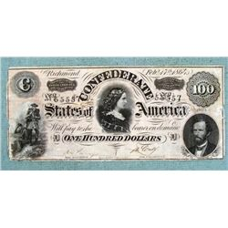 1864 $100 Confederate States Bank Note Bill Richmond