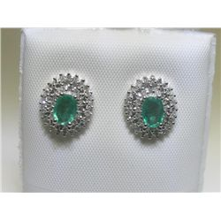 Emerald and Diamonds 14K White Gold Earrings
