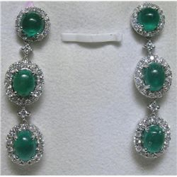 Emerald and 1.04 Carat Diamonds 14K White Gold Earrings