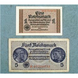 WWII Nazi German 2 Pc 1 & 5 Reichmark with Swastika