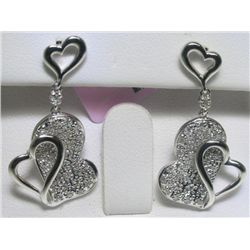 All Diamonds Heart Design 14K White Gold Earrings