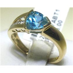 Blue Topaz and .02 Carat Diamonds 18K White Gold Ring
