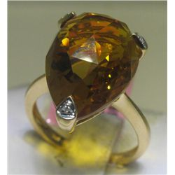 .02 Carat Diamonds and Citrine Yellow Gold Ring 14K