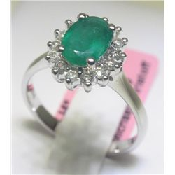 Emerald and .30 Carat Diamonds 14K White Gold Ring