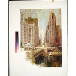 Chicago River Michigan Ave Rare Printer Proof Art Print