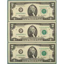 3 Consec # $2 Bills G Mint Chicago Notes CU 2003 A