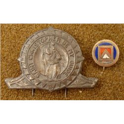1920 MASONIC PIN & 1940 ST CHRISTOPHER MEDAL