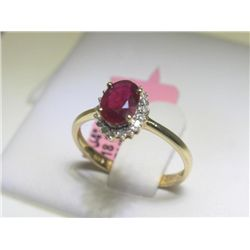 Ruby and .10 Carat Diamonds 14K Yellow Gold Ring