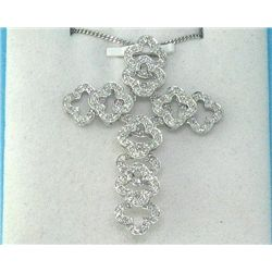 14K White Gold Cross Pendant .59 Carats All Diamonds