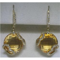 Citrine and Diamonds Heart 14K Yellow Gold Earrings