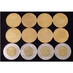 12 Diff Date Canadian $1 & $2 Coins 1987-2000 Some UNC