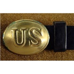 CIVIL WAR PRIVATELY MADE US BRASS BUCKLE LEATHER BELT