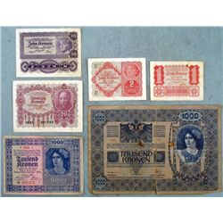 6 Pc Austria Early Paper Money Kronen Korona 1902-1922