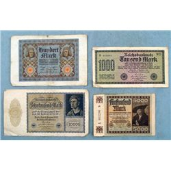 4 Early German Reichbanknote Paper Money 1920-22 100-