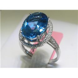 .20 Carat Diamonds and Blue Topaz 14K White Gold Ring