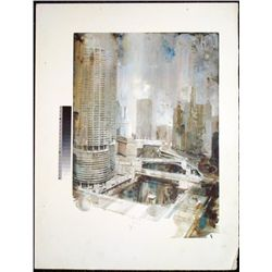 Chicago River Marina Tower Rare Printer Proof Art Print