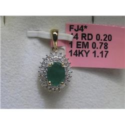 Emerald and .20 Carat Diamonds 14K Yellow Gold Pendant