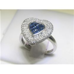 Blue Sapphire and Diamonds 14K White Gold Heart Ring