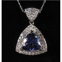 69228 - 14K WHITE GOLD TANZANITE AND DIAMOND PENDANT W/ CHAIN