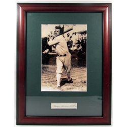 BABE RUTH CUT SIGNATURE W/ PHOTO - FRAMED W/ COA