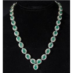 69214 - STERLING SILVER W/ 18K GOLD PRONGS EMERALD AND DIAMOND NECKLACE