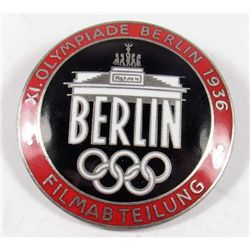 GERMAN NAZI 1936 BERLIN OLYMPICS ENAMELED OLYMPIAD FILM MAKER BADGE