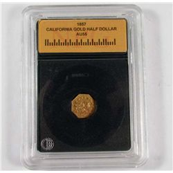 1857 CALIFORNIA GOLD HALF DOLLAR - NPG AU55