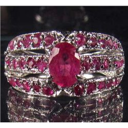 STERLING SILVER AND RED MADAGASCAR RUBY RING - SIZE 6.5 - 4.90 GRAMS