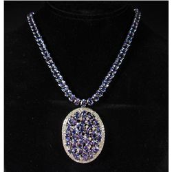 69242 - 14K WHITE GOLD TANZANITE AND DIAMOND NECKLACE