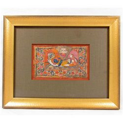 VINTAGE PAINTING ON LINEN - KRISNA & SITA - FRAMED