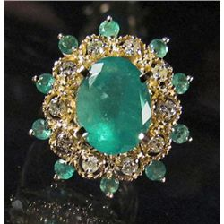 69264 - 14K GOLD EMERALD AND DIAMOND RING - SIZE 7