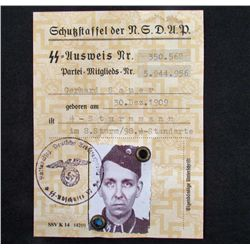 1941 GERMAN NAZI SS SOLDIER ID W/ PHOTO AND STAMPS