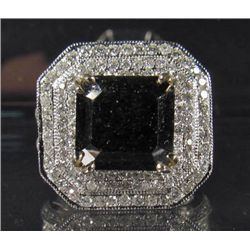 69266 - 14K WHITE GOLD LADIES BLACK AND WHITE DIAMOND RING - SIZE 7